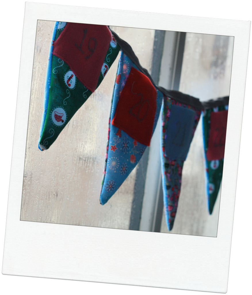 homemade christmas advent bunting