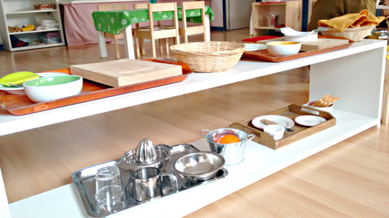 Montessori classroom - beautiful trays are attractive and have everything at the ready