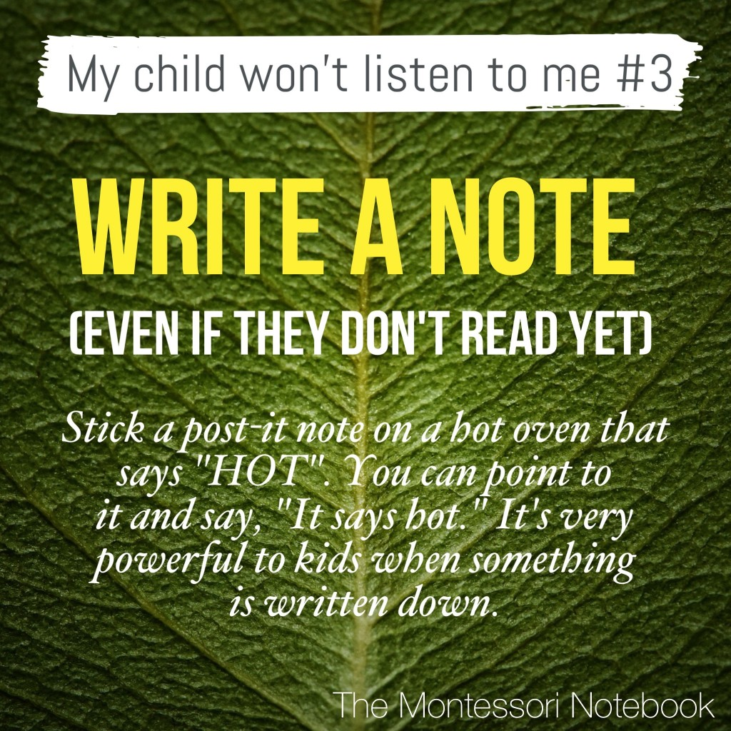 My child won't listen series by The Montessori Notebook