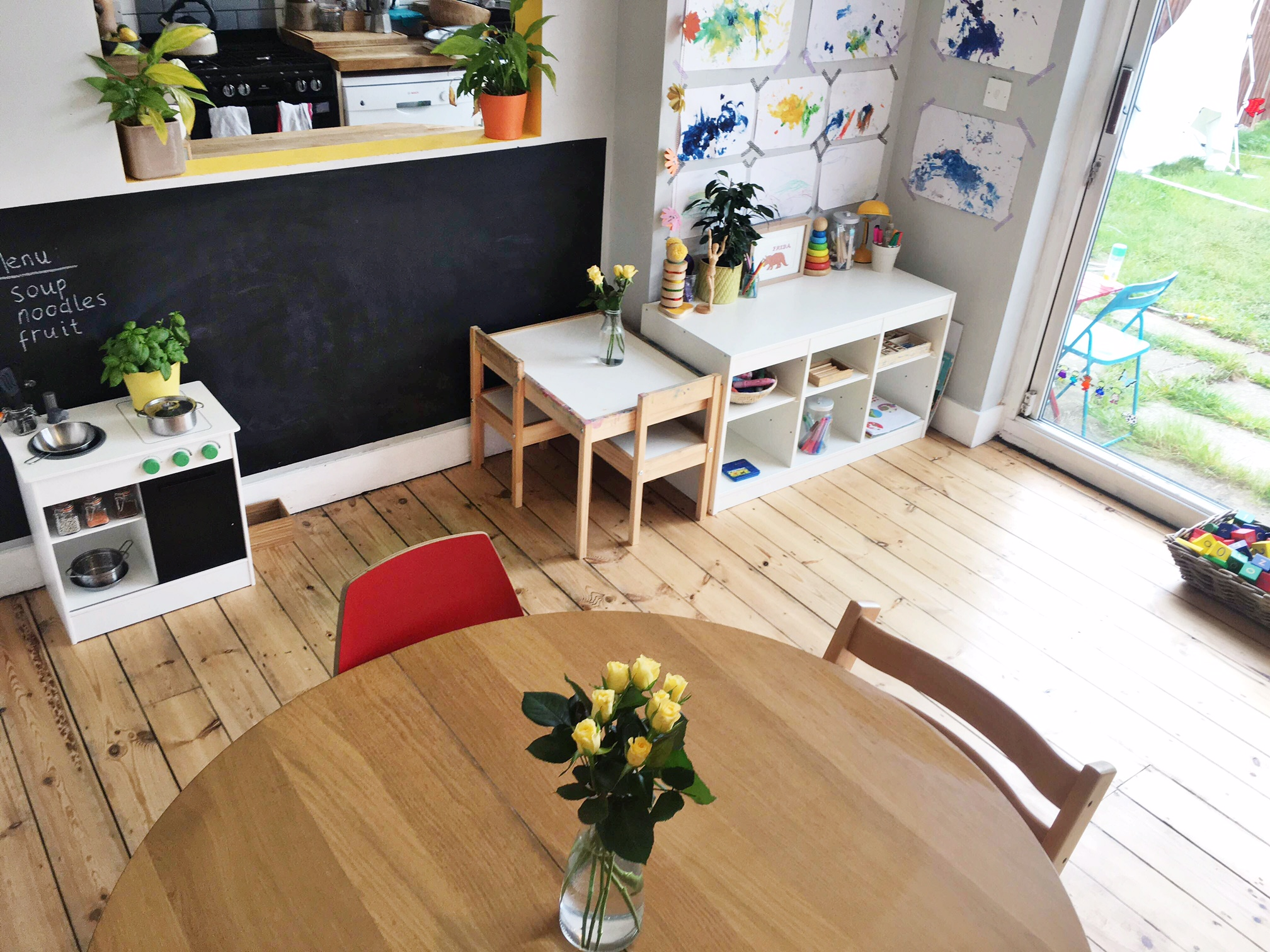 Mighty Mother's kitchen and Montessori shelves for 18 month old