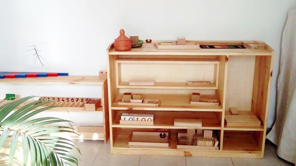 Montessori maths shelves Montessori classroom Gambia