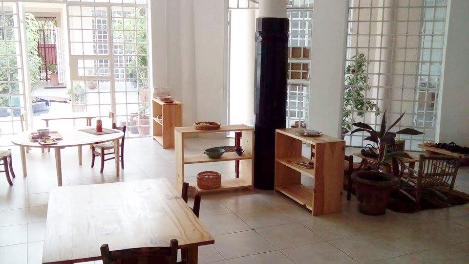 wooden furniture Montessori classroom Gambia
