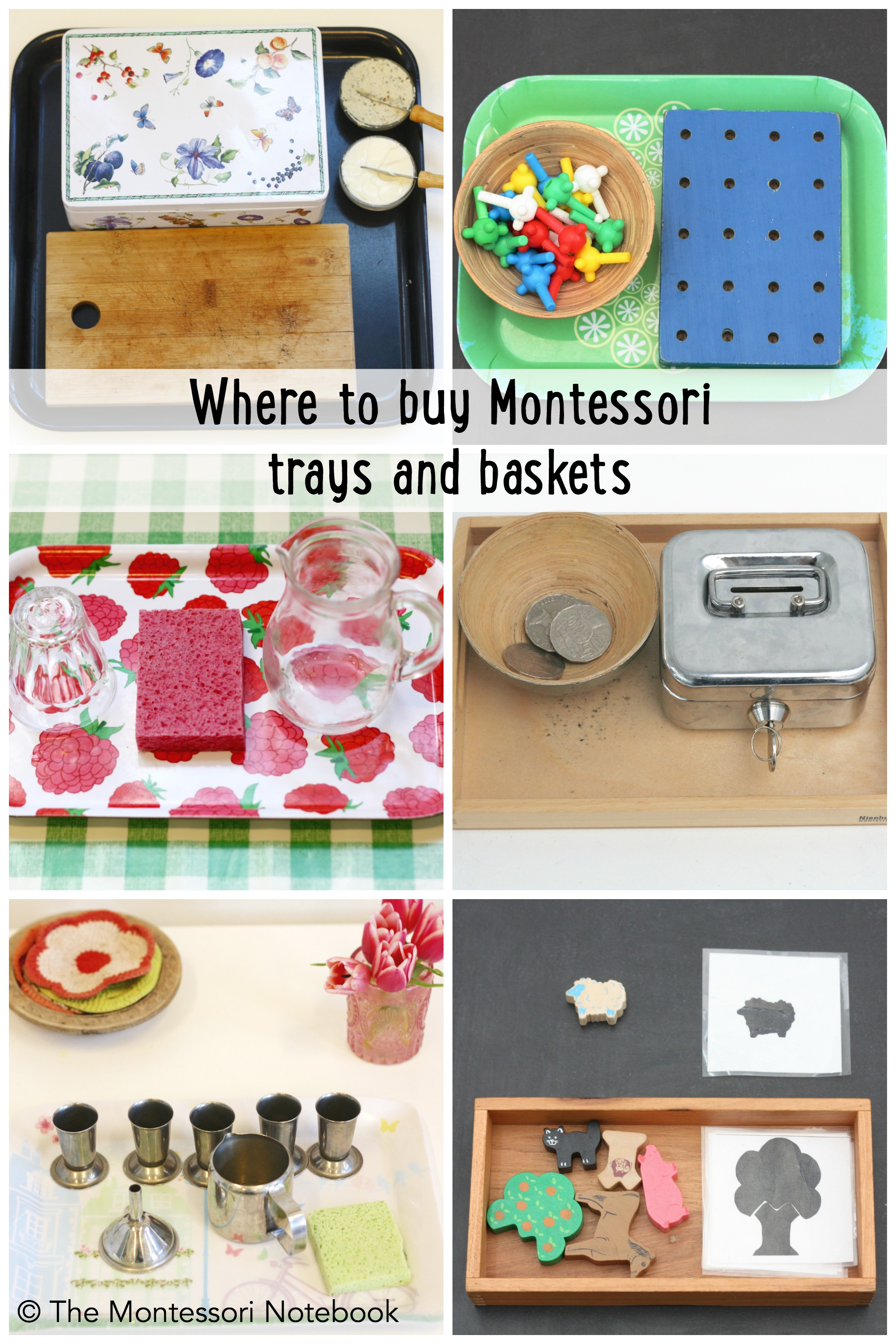 where to find Montessori baskets and trays::The Montessori Notebook