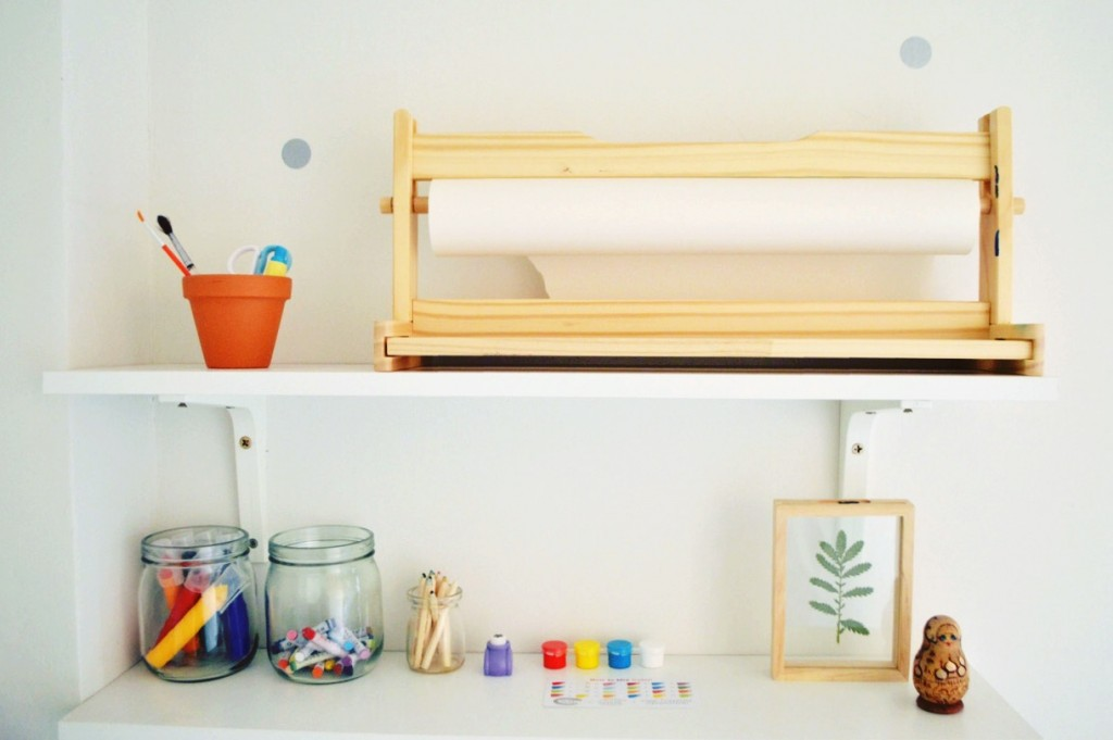 montessori art shelves
