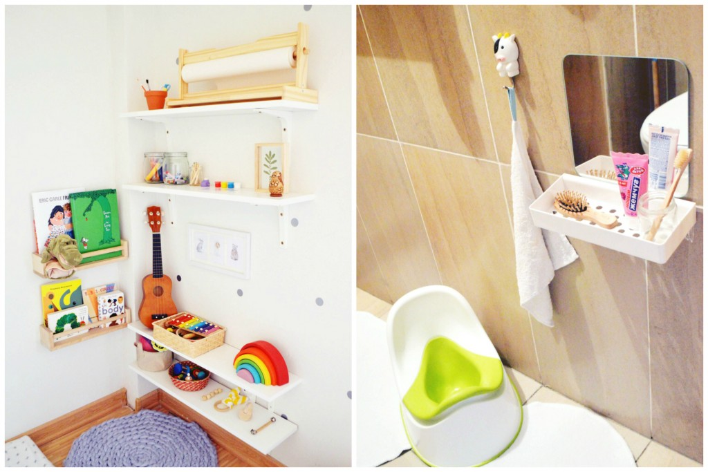 montessori shelves and bathroom