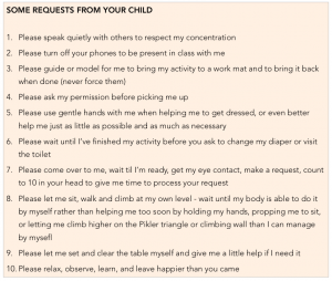 Some requests from your child